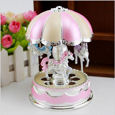 AU Pink Girls LED Light Horse Carousel Music Box Toy Clockwork Musical Box CP