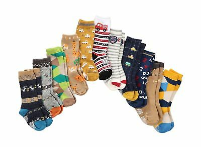 7 Pairs Toddler Boy Non Skid Socks Knee High Cotton Thick with Grips, Baby Bo...