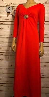 VTG Womans Dress 70's Handmade 3/4 Sleeve Fit & Flare V-Neck Sparkle Flow Maxi