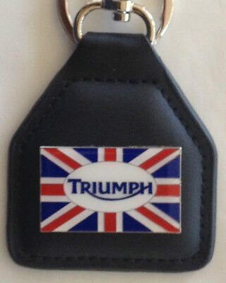 LEATHER KEY FOB ~ Triumph Union Jack logo.  B031102F