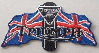 Embroidered cloth patch ~ Triumph 2 union Jack Flags .    B031105