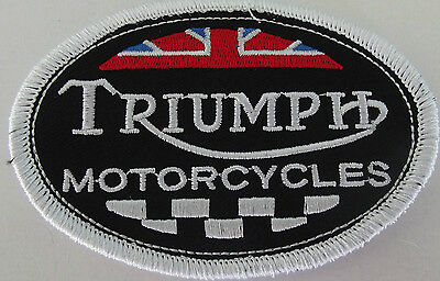 Embroidered cloth patch ~ Triumph Oval Union Jack and Chequered Flag.  B021103
