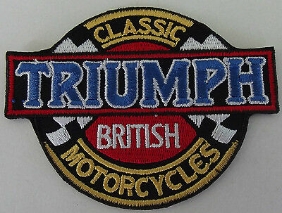 Embroidered cloth patch ~ Triumph Classic British Motorcycles ~    B021106