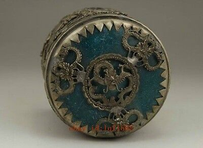 Chinese Old Tibet Silver Handwork Inlay Jade Dragon Phoenix Tobacco Box