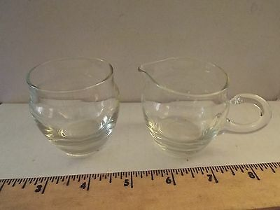 vintage antique mini clear glass creamer and sugar set-RARE-beautiful! small