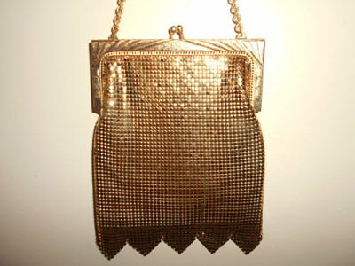 Vintage WHITING & DAVIS gold mesh evening BAG art deco flapper style chain mail