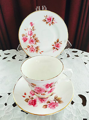 VINTAGE CROWN TRENT STAFFORDSHIRE ENGLAND FINE BONE CHINA TRIO C1950's