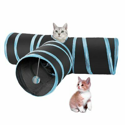 Pet Cat Kitten Tunnel Play Toy 3 WAY Foldable Exercise Tunnel Cave Funny Toys