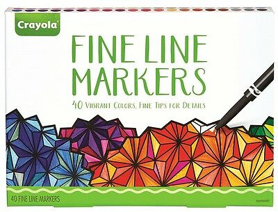 Crayola Adult Colouring Markers - Fine Line Markers - 40 pack