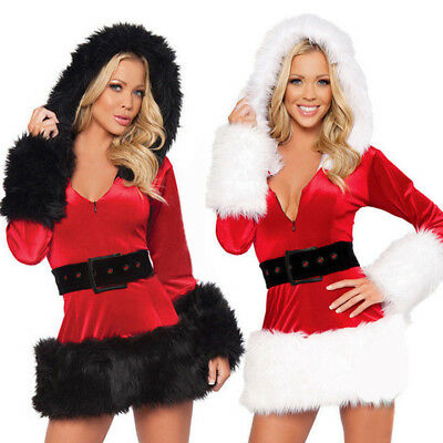 Sexy Women's Santa Claus Christmas Costume Cosplay Lady Outfit Fancy Dress