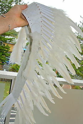 80cm WAR BONNET head chief feathers leather WHITE native american indian NEW