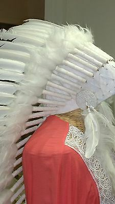 LONG WAR BONNET head chief feathers leather WHITE native american indian NEW