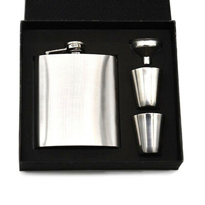 Stainless Steel With Gift Box Lmprint Flagon Alcohol Hip Flask Set 7oz Whisky
