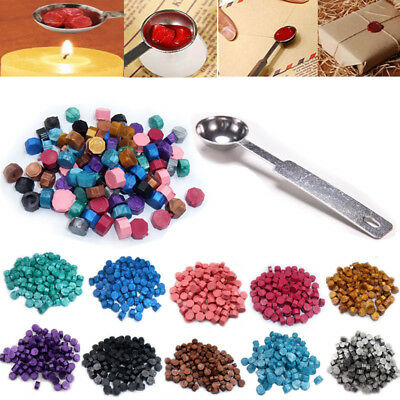 100pcs Sealing Wax Beads+Melted Spoon For Seal Stamp Wedding Envelope Invitation