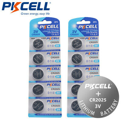 10x 3V Lithium Button Coin Cell Battery CR2025 DL2025 ECR2025 for Watches PKCELL