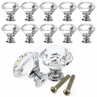 10pc30mm clear Crystal Glass Door Knobs Furniture Drawer Cabinet Kitchen Handles