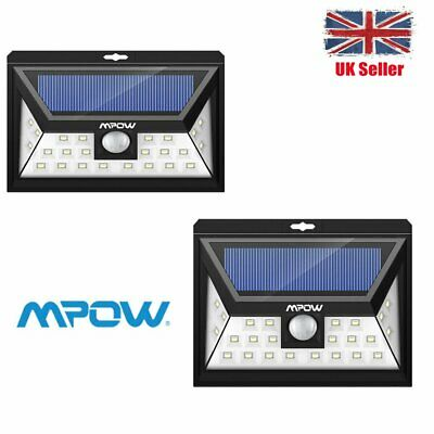 20/24 LED Mpow Solar Powered Light Motion Sensor Outdoor Security Lamp UK STORE