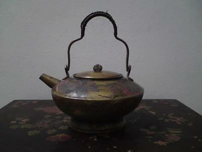 Old Japanese cold painted bird peony tin brass metal teapot kettle wine pot