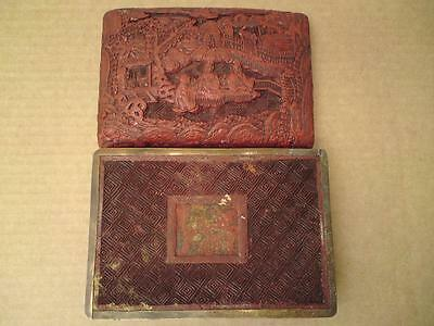 18th-19th century CHINESE CINNABAR LACQUER BOX carved figure scene of sages