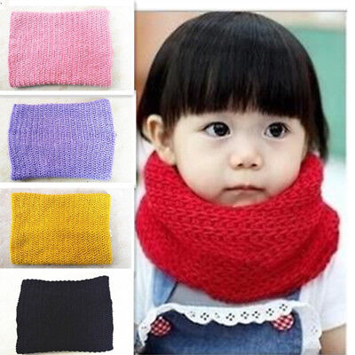Kids Baby Boys Girls Winter Warm Scarf Infinity Cable Knit Cowl Neck Wrap Snood