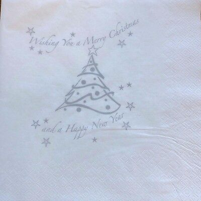 125 x Silver Xmas Tree Napkins 40cm 2ply Serviette Christmas Party Catering