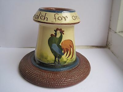 Devon Pottery Motto Ware Longpark   Cockerel Match Holder/striker