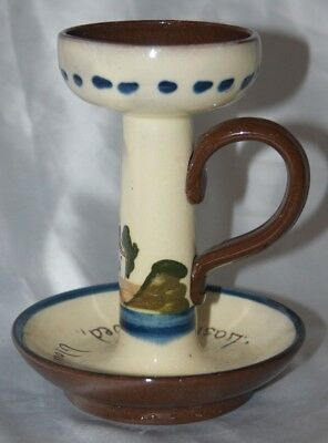 Rare vintage Aller Vale Devon motto ware candle/chamber stick hand painted