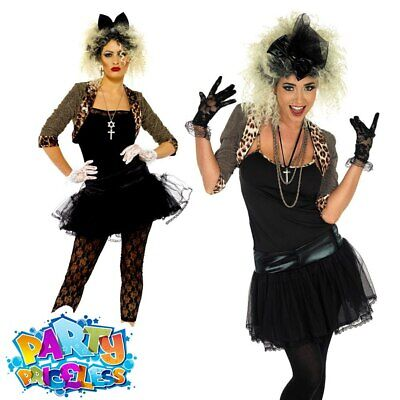 Madonna Costume Womens 80s Wild Child Fancy Dress Ladies Pop Rock Star Outfit