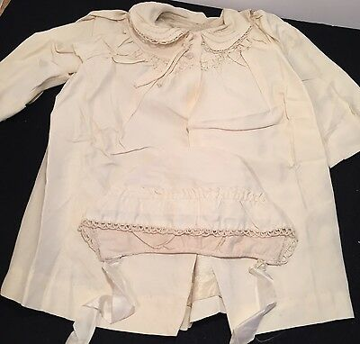 ANTIQUE SiILKY /SATIN CHRISTENING COAT AND BONNET EMBROIDERD
