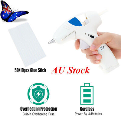 Au 10W Cordless Electric Heating Hot Melt Glue Gun Plus 10/50 Adhesive Sticks
