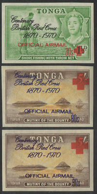 Tonga official 1970 SGO55-O57 Airmail Red Cross set MNH