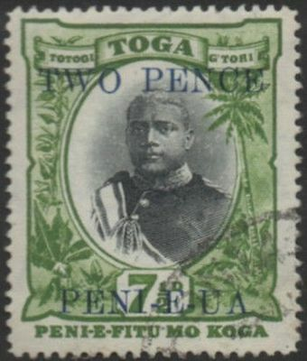 Tonga 1923 SG65 2d on 7½d King George II FU