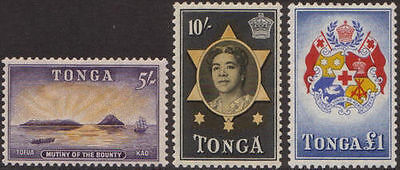 Tonga 1953 SG112-114 5/- Mutiny 10/- Queen Salote and ₤1 Arms MLH