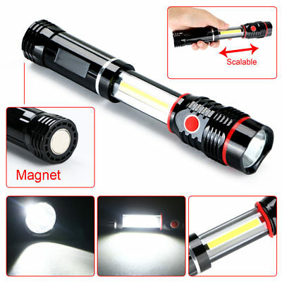300LM Super Bright COB LED Work Light CampingLamp Magnetic Hand Torch Black#b