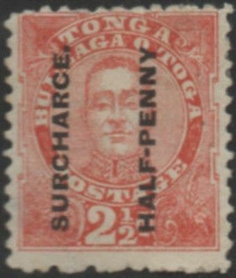 "Tonga 1895 SG29b ½d on 2½d King George II ""SURCHARCE."" M"