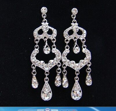 Big Sale-Bridal Chandelier Earrings Clear Australia Crystals Perfect Gift E2058