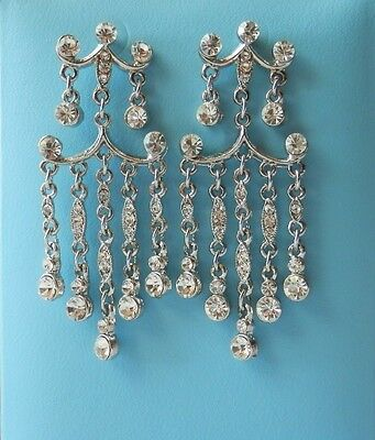 Bridal Wedding Party Chandelier Earring with Clear Crystals E2192