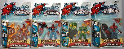 4 Ultimate Spider-Man Action Figures Power Webs Iron Fist Crossbow Rocket Ramp