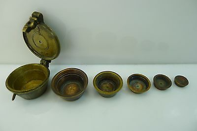 Antique/vintage Brass Nesting Scale Weight Full Set In Their Hinged Lid Box