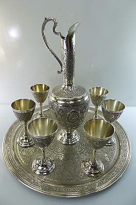 Very Rare Antique Persian Hallmarked Silver Set Of 6 Cups One Tray & One Jug