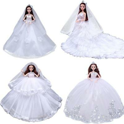One Barbie Doll White Wedding Dress Mantilla Party Mini Gown Charming Clothes