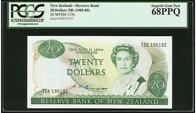 $20 ND 1985-89 New Zealand - Reserve Bank PCGS Superb Gem New 68 PPQ