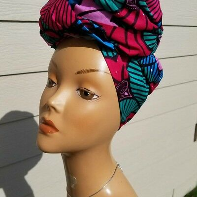 Pink, Teal And Blue Headwrap;African Headwrap; African Clothing; African Fabric