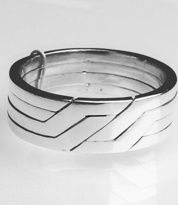 """MODERN """"PUZZLE RING""""  UNISEX - Sterling Silver - 925 - Sizes  6.5 to 12.75 US"""