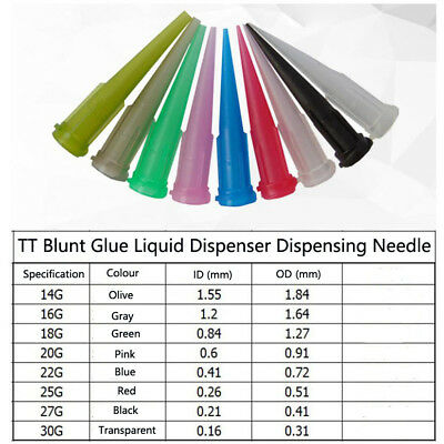 50 PCS TT Blunt Glue Liquid Dispenser Dispensing Needle Plastic Tapered Tips UK