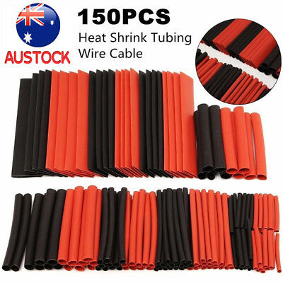 150pcs Black And Red 2:1 Heatshrink Tubing Tube Sleeve Heat Shrink Wrap Cable