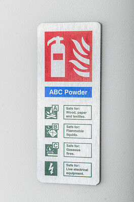 ABC Powder Fire Extinguisher ID Sign  80mm X 200mm  Brushed Silver (BFI-08N)