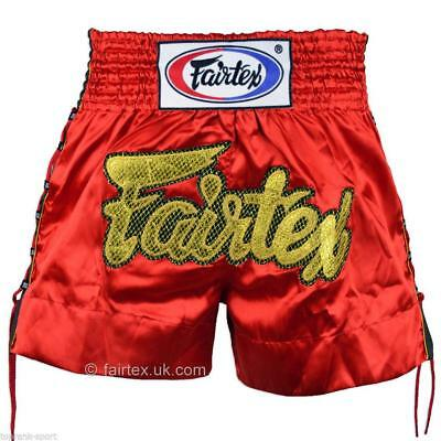 Fairtex Red Laced Sides Muay Thai Boxing Shorts