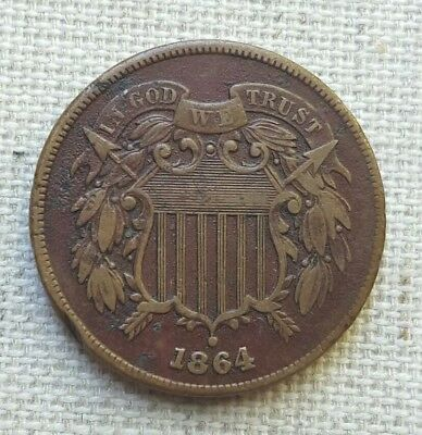 """1864 Two Cent Piece - XF - Bold """"WE"""""""
