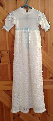 Beautiful Hand Made Christening Robe With Hat, Bootees & Mittens. Perfect Cond.